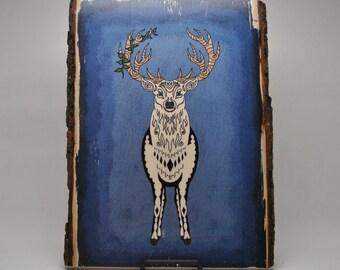 White Stag Art Wood Print