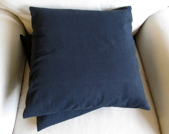 20 inch square black cotton duck pillow covers