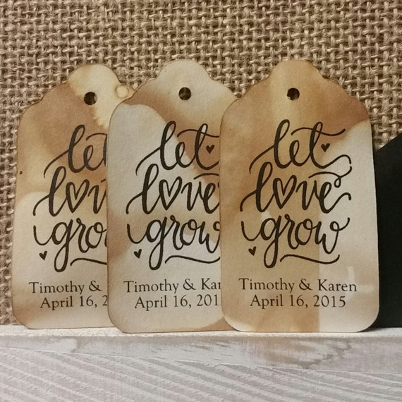 Let Love Grow Personalized MEDIUM SCRIPT Wedding Favor Tag choose your amount