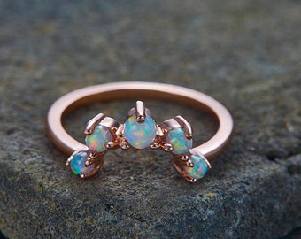 Opal Wedding Band Curve Wedding Ring Opal Stacking Ring Chevron Ring Rose Gold Plated Sterling Silver Anniversary Ring