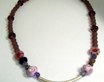 Silver Bar Necklace, 2 Artian Made Lampwork Gass Beads, Czech Glass Beads, Handmade, BOHO Design, Nature, Womens Gift, adjustable