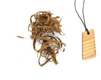 Wood Pendant / Rectangle Necklace / Wood Necklace / Teak Wood Necklace / Larche Wooden Necklace / Natural Necklace / EcoFriendly Pendant