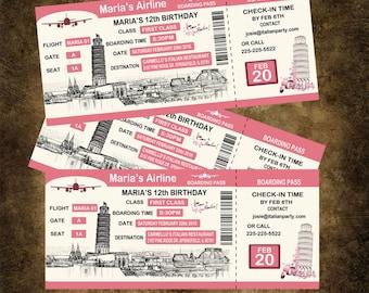 Boarding Pass Birthday Invitation, Personalized Italy Invitation, Italian Airline Ticket Invitation, Boarding Pass Invitation