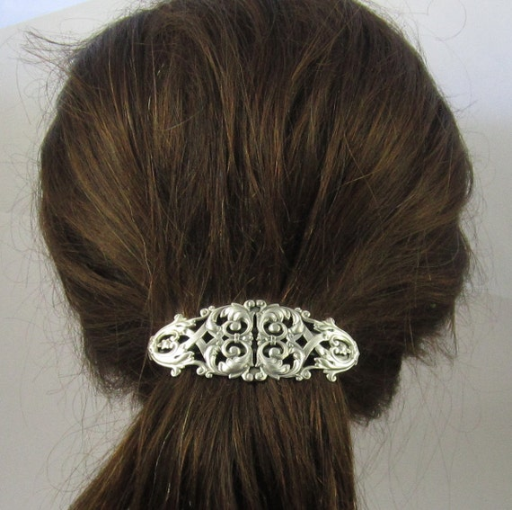 Vintage Hair Accessories: Combs, Headbands, Flowers, Scarf, Wigs Victorian Filigree French Barrette 80mm- Large Barrette- Hair Accessories- Hair Clip- Silver Barrette- Filigree BarretteVictorian Filigree French Barrette 80mm- Large Barrette- Hair Accessories- Hair Clip- Silver Barrette- Filigree Barrette  AT vintagedancer.com