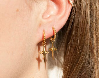 Patterned half hoop stud earring - gold hoop earrings - dagger hoops - silver hoop earrings - sterling silver - hoops - boho -E3-SF-9024