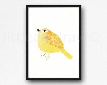 Bird Print Cuddly Yellow Bird Watercolor Painting Art Print Bird Gift Bird Wall Art Bedroom Decor Home Decor Wall Decor Unframed