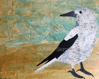 Bird Art Print, Bird Lover Gift, Unique Bird Decor,Mixed Media, Nature Inspired, Whimsical Art, Wall Art Print, 8 x 10, Animal Art
