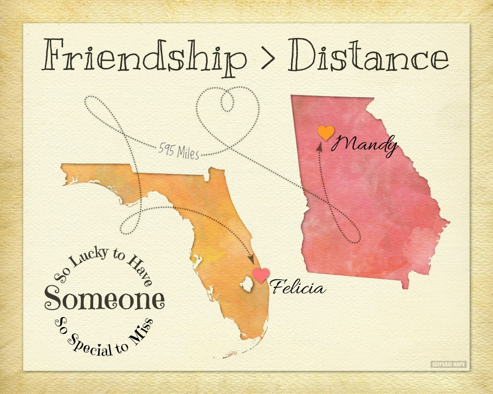 Quotes About Distance Friendship Friendship Quote Print Personalized Best Friend Map Gift
