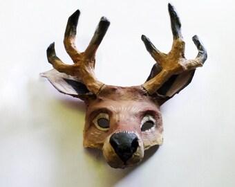 Reindeer Mask, wearable, reindeer, deer, Christmas, Santa, paper mache