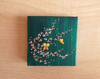 Tiny Green Cherry Blossom Acrylic Painting on Canvas, Miniature Painting, Original Artwork, Fine Art, Small Canvas, Art & Collectibles