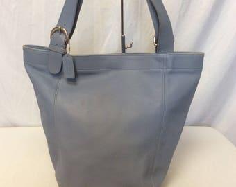 Vintage Authentic COACH Light Blue Leather Large Shoulder Bag Tote Bag Bucket Bag