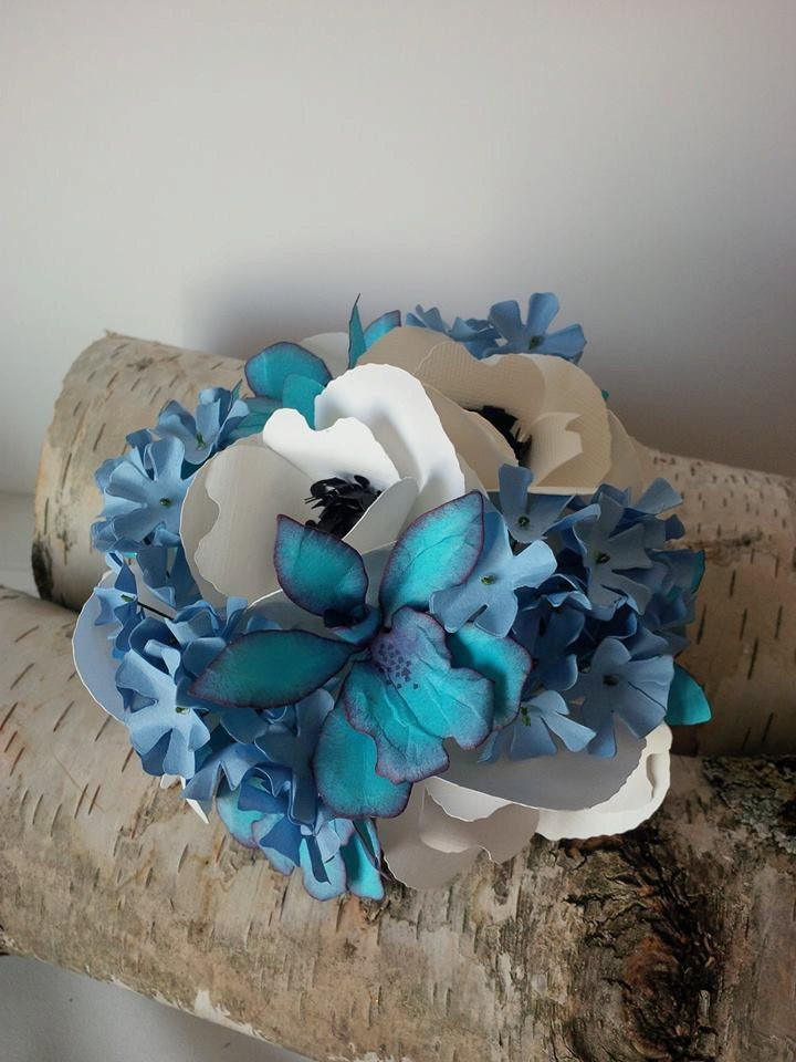 Blue Orchid Wedding Cake Topper