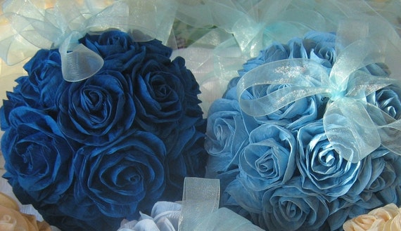 1 paper flowers kissing ball wedding royal prince navy blue 1 paper flowers kissing ball wedding royal prince navy blue hanging crepe paper flower ball centerpiece pomander flower girl baby shower mightylinksfo