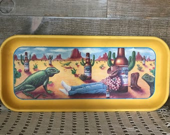Budweiser Cowboy and Cactus Metal Serving Tray