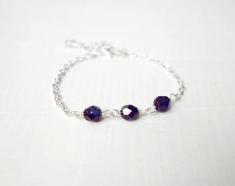 Purple bead bracelet minimalist chain bracelet dark purple beads layering bracelet for women