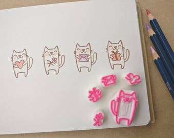 Generous Kitties - Fun Set of 5 Handcarved Rubber Stamps