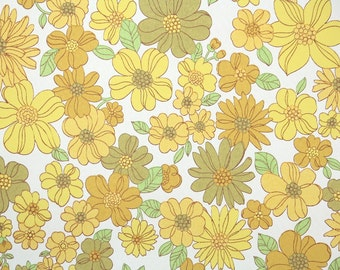 Retro Wallpaper by the Yard 60s Vintage Wallpaper - 1960s Yellow Daisies Mod Floral