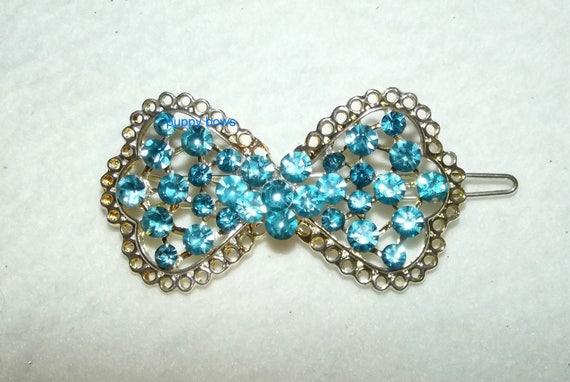 Puppy Bows ~ Rhinestone gold lace blue dog flower bowtie hair  barrette ~ US Seller