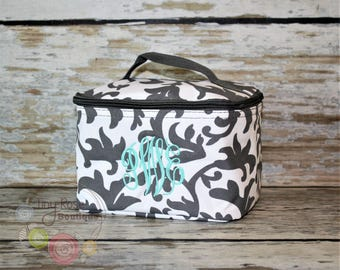 Monogrammed Preppy Cosmetic Case, Toiletry Bag, Makeup Bag - Gray Scroll