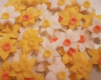 16 Edible Sugar Paste Pretty Daffodils Spring Flowers Birthday Wedding Anniversary Party Cake Cupcake Toppers