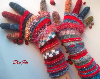 Women Size M With Fingers Wool OOAK Ready To Ship Mittens Bohemian Wrist Warmers Winter Fingered Gloves Hand Knitted Striped Multicolor 91