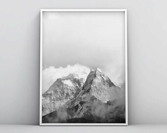 Minimalistic Mountain Printable, Black and White Mountain Print, Printable Mountain Prints, Misty Landscape Photography, Snow Mountain Art