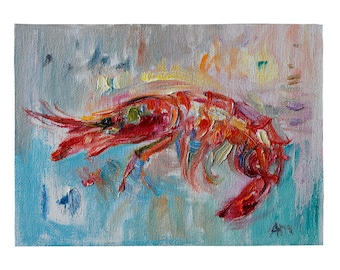 Red Prawn - Giclee Fine Art Print, Fishy Still Life Original Oil Painting Canvas Modern Kitchen Art Seafood Shrimp Crayfish Food Foodie Gift