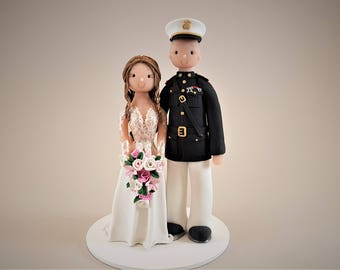 Bride & Groom Custom Made Military Wedding Cake Topper