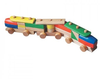 Wooden toy train natural wooden train set