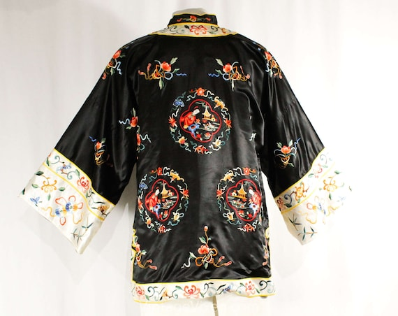 Black Size Gorgeous Medallion 50883 Eastern Embroidery Satin Asian 1950s Oriental with Evening Large Jacket Bust 40 Scenic Medium tC8Cwr