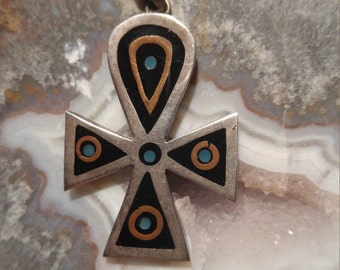 Popowski jewelry etsy sterling silver vintage taxco spiritual uplifting turquoise brass resin religious native american ankh cross pendant meaning aloadofball Images