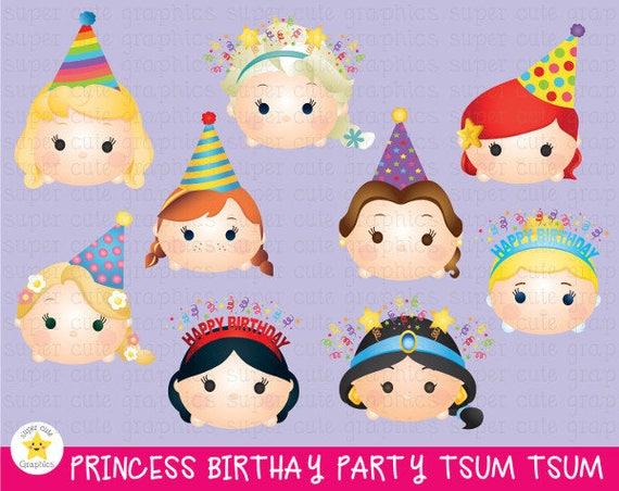 Disney Tsum Tsum Clipart 9: PRINCESS BIRTHDAY Clipart Tsum Tsum Princess Clipart Tsum