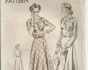Vintage Pattern - 1940s Pattern - Shirt Waist Dress - Vogue Pattern 6380 - 1948 - Bust 86 cm
