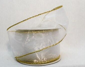 "Sheer white metallic gold wired, white sheer gold metallic wired 2"" x 10 yards"