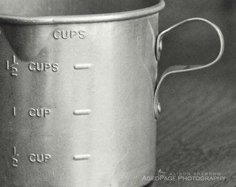 Kitchen Photography, Black & White Print, Farmhouse Kitchen, Rustic Home Decor, Bakery Art    'Measure Up'