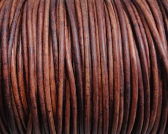 10 Yards 1mm Distressed Red Brown Leather Cord - Genuine Leather Round Cord Natural Dye