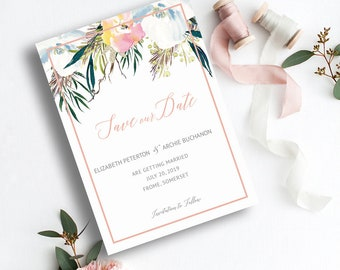 Summer Roses Save the Date Card - Editable Templates - Summer Florals - Printable - Instant Download