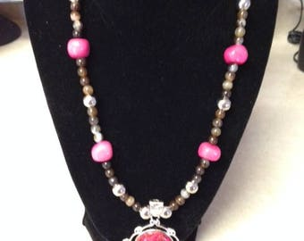 Aqua Terra Jasper Pink Pendant Necklace with Agate Beads