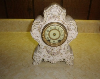 vintage porcelain clock case only porcelain face glass front