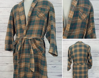 Vintage 80s Plaid Mens Bathrobe Encino California Custom Needled Medium Green Red Brown Checks light Robe 100% Cotton