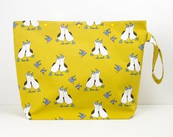 Fou de Bassan sac pour les projets de pull à tricoter, jaune moutarde grand crochet organisateur, stockage de bateaux fil oiseaux