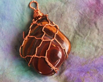 Tigers Eye Pendant Wire Wrapped in Copper