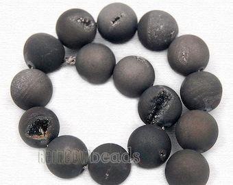 Natural Agate Dark Grey Druzy Beads,  Gemstone Beads, Round Natural Stone Beads,  8mm 10mm 12mm 14mm