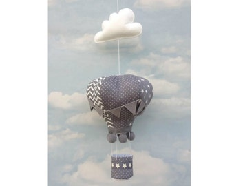 grey hot air balloon decoration, hanging mobile, hot air balloons, hanging decoration, nursery decor, gifts for baby, nursery, grey decor