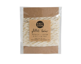 Gold/Natural Glitter Twine Card / The Original Glitter Twine / 10 Yards