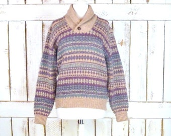 Vintage mauve purple chunky woven knit Shetland wool pullover winter sweater/Lord Jeff/snow cabin ski sweater
