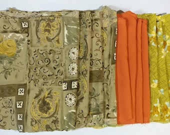 Vtg Large Sz Pieces Polyester Fabric Bundle Remnants Sewing Destash Material Eco Craft Project Making Stash DIY Recycle Repurpose Patch Work