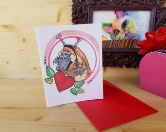 Awkward Platypus Card for Best Friends/ Platypus Greeting Card/ Valenitnes Day Platypus/ Galentines Platypus Card/ Awkward Hipster Card
