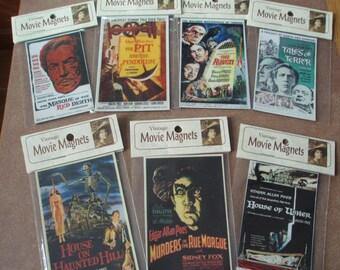 Edgar Allan Poe Set of 7 movie poster magnets  Vincent Price Peter Lorre Boris Karloff Bela Lugosi refrigerator magnets