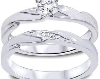 Diamond .28CT Engagement Wedding Ring Set 10K White Gold